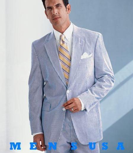 Causal White Amp Sky Blue Pinstripe Seersucker Summer Suits