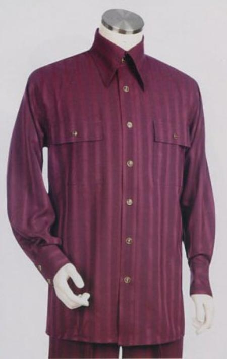 Men 39 s long sleeve 2pc set including matching wide leg for Wine colored mens dress shirts
