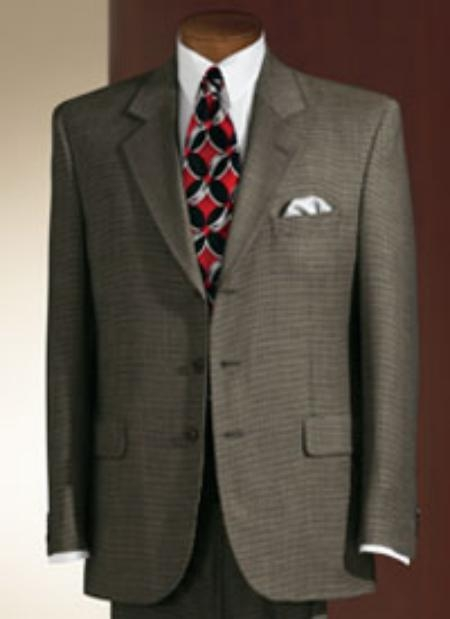 Olive Green Shark Skin Suit Three Buttons Suits For Men