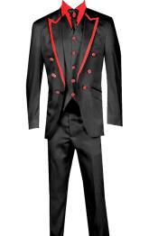 Piece Jacket+Trouser+Waistcoat White/Black Trimming