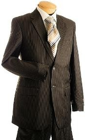 Button Brown Pin Stripe
