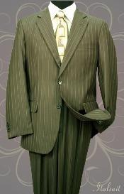 Mens Olive pinstripe Suit