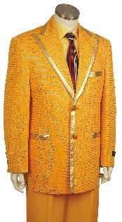 Mens Yellow Zoot Suit Peak Lapel Suits Mens Colorful Suit