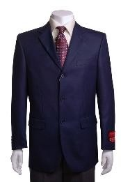 SKU#TH412 Men's Navy 3 buttons Waffle-weave Blazer