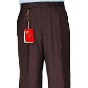 Brown Single-pleat Wool Dress
