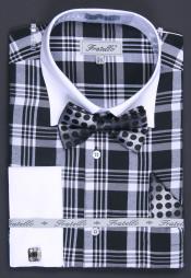 Black Checker French Cuff