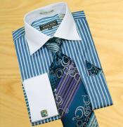 / Bluish-Green Stripes Shirt