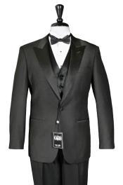 1-Button Peak Tuxedo Black