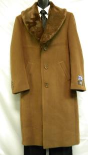Brown Belted Wool Overcoat