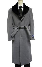 Gray Belted Wool Overcoat