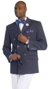 Navy Pinstripe Three Piece Suit