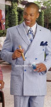 Fashion Seersucker Suit Blue