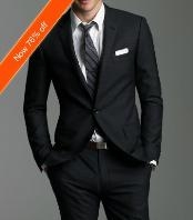 SKU#UZ2921 Luxury Italian Made 2-Button Fitted Suit Black