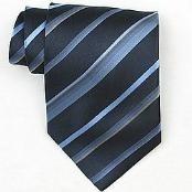 Navy/LtBlue/Gold Woven Necktie