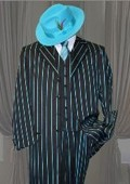 With Turquoise Pinstripe Mens