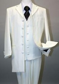 Ivory Pinstripe Vested Suit