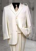 Ivory~Off White~Cream 3 Button three piece suit With a Vest Hand Made