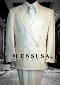 2pc MEN'S SHARP Double Breasted DRESS SUIT Off White