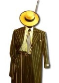 Men's Black & Gold Pinstripe Dress 5 Button Fashion Zoot Suit
