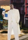Men's Super Stylish Long Off White/Ivory/Cream Fashion Dress Zoot suit 38 Inch Long