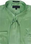 Men's Green Shiny Silky Satin Dress Shirt