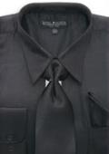 Men's Black Shiny Silky Satin Dress Shirt