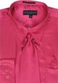 Men's Fuschia Shiny Silky Satin Dress Shirt
