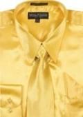 Men's Gold Shiny Silky Satin Dress Shirt