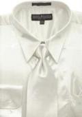 Men's Ivory Shiny Silky Satin Dress Shirt