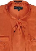 Men's Orange Shiny Silky Satin Dress Shirt
