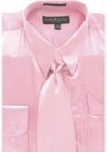 Men's Pink Shiny Silky Satin Dress Shirt