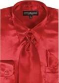 Men's Red Shiny Silky Satin Dress Shirt