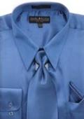 Men's Royal Blue Shiny Silky Satin Dress Shirt