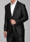 Men's Shiny Black 2-button Suit