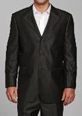 Men's Shiny Black 3-button Suit