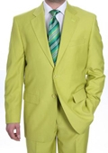 Mens Two Button Suit - Bright Neon Green~Kiwi~Celery