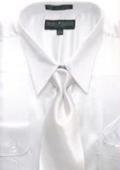 Men's White Shiny Silky Satin Dress Shirt