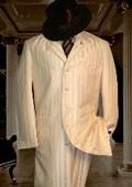 Shiny Ivory Shadow Stripe Suits