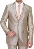 Shiny sharkskin Beige Single Breasted Suit