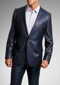 Shiny sharkskin Navy Blue Single Breasted Suit