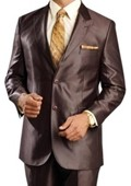 Shiny sharkskin Brown Single Breasted Suit