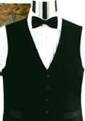 Simple Black Not Shiny Tuxedo Vest