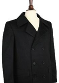 Wool Pea Coat Wool Blend Double Breasted Broad Lapels Side Pocket in 3 Color