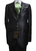 2 Button Shiny Charcoal Men's Suit