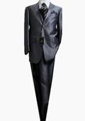 2 Button Shiny Solid Medium Gray Men's Suit