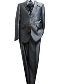 2 Button Shiny Silver Men's Suit