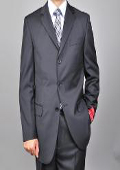 Solid Black 3-button Suit