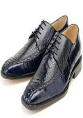Mens Navy Genuine Ostrich/Eel