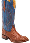 Ferrini Cognac/Blue Genuine Caiman