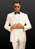 2 Button Shiny White Suit